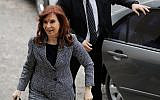 Former president of Argentina Cristina Fernandez de Kirchner arrives at federal court in Buenos Aires, Argentina, Sept. 18, 2018. Fernandez had been ordered to testify as part of an investigation into alleged money laundering. (AP Photo/Natacha Pisarenko)