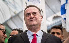 Foreign Minister Israel Katz at a Likud election campaign stop in Jerusalem, September 16, 2019. (Yonatan Sindel/Flash90)