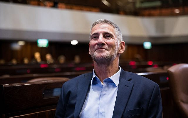 Incoming MK Yair Golan of the Democratic Camp party during a tour of the Knesset, September 25, 2019. (Yonatan Sindel/Flash90)