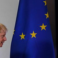 British Prime Minister Boris Johnson arrives for a media conference at an EU summit in Brussels, Oct. 17, 2019. (AP Photo/Frank Augstein)