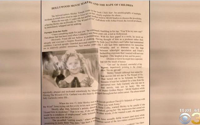 An anti-Semitic flier found on a New Jersey vehicle. (Screenshot/CBS Philly)