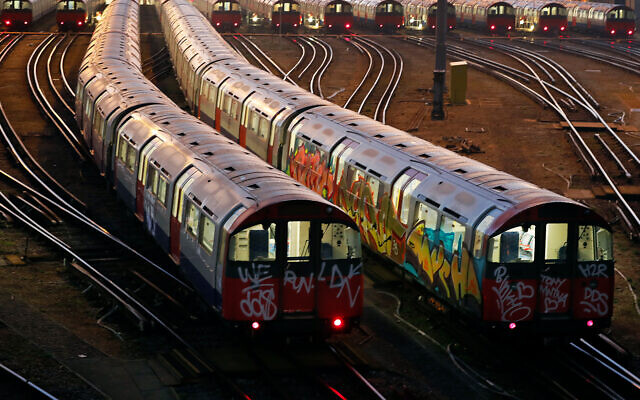 Illustrative: London underground trains parked at a depot at Boston Manor station in London, September 27, 2018. (AP Photo/Frank Augstein)
