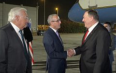 US Secretary of State Mike Pompeo, right, lands at Ben Gurion Airport, October 18, 2019. (Ziv Sokolov/US Embassy Jerusalem)