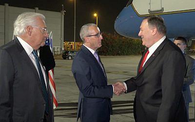 US Secretary of State Mike Pompeo, right, lands at Ben Gurion Airport, October 18, 2019. (Ziv Sokolov/US Embassy Jerusalem)