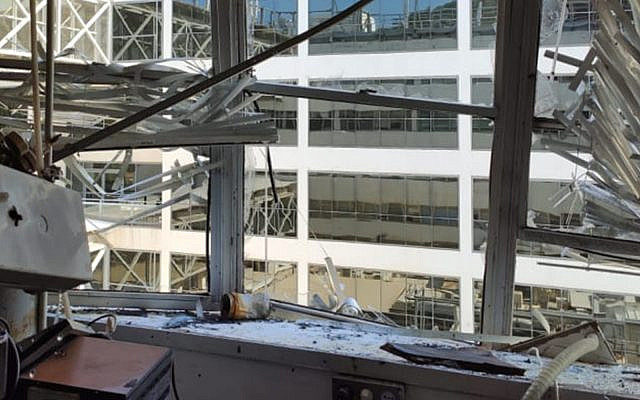 A Technion lab that exploded on October 13, 2019. (Luke Tress/Times of Israel)