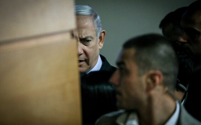 Prime Minister Benjamin Netanyahu arrives at the annual Board of Governors' meeting in Jerusalem, October 28, 2019. (Noam Revkin Fenton/Flash90)