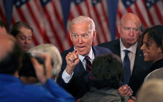 Democratic presidential candidate and former vice president Joe Biden speaks at a campaign event in Rochester, New Hampshire, October 9, 2019. (AP Photo/Elise Amendola)