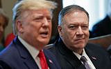 US Secretary of State Mike Pompeo, right, listens to US President Donald Trump, left, speak during a Cabinet meeting in the White House, Oct. 21, 2019, in Washington. (AP Photo/Pablo Martinez Monsivais)