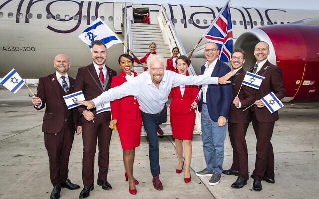 Virgin Atlantic founder Richard Branson touches down at Ben Gurion Airport in Tel Aviv, Israel with CEO Shai Weiss. (Courtesy Virgin)