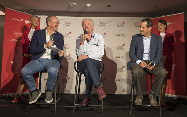 Virgin Atlantic founder Richard Branson and CEO Shai Weiss hold a press conference after touching down at Ben Gurion Airport in Tel Aviv, Israel. (Courtesy Virgin)