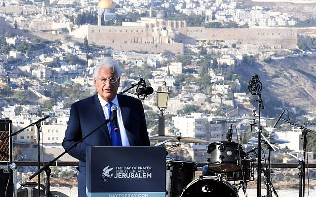 US Ambassador to Israel David Friedman speaks at a rally of pro-Israel Christians in Jerusalem, October 6, 2019 (David Azagury, US Embassy Jerusalem)