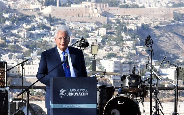 US Ambassador to Israel David Friedman speaks at a rally of pro-Israel Christians in Jerusalem, October 6, 2019 (David Azagury, US Embassy Jerusalem)