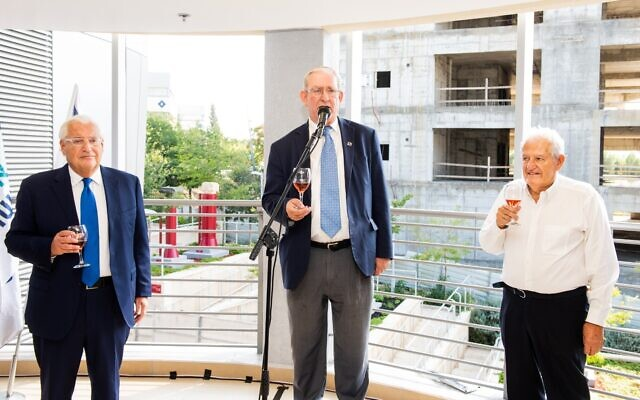 (From L-R) US Ambassador to Israel David Friedman. chairman  of Ariel University's management committee Marc Zell and Professor Yehuda Danon make a toast at a ceremony marking the start of the school year for the inaugural class of students at Ariel University's medical school on October 27, 2019. (Josef Photography)