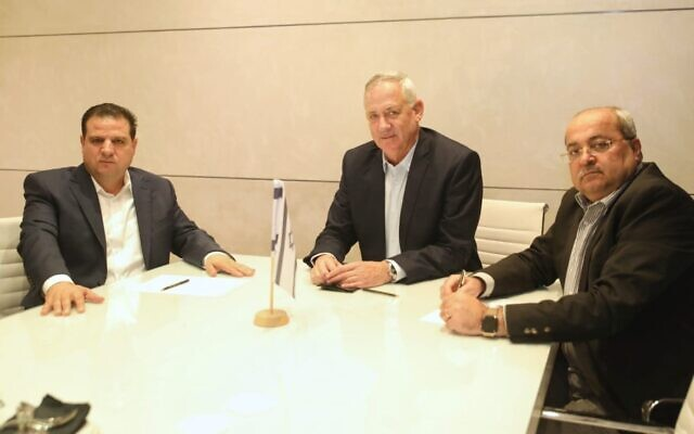 Blue and White chair Benny Gantz (C) meeting with leaders of the Joint List alliance, Ayman Odeh (L) and Ahmed Tibi, October 31, 2019. (Ofek Avshalom)