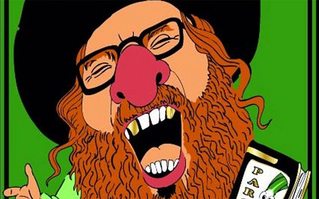 A caricature of an Orthodox Jew distributed by organizers ahead of the Aalst 2020 carnival. (Courtesy of FJO via JTA)