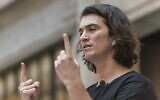Adam Neumann, co-founder and chief executive officer of WeWork, speaks during a signing ceremony at WeWork Weihai Road flagship on April 12, 2018 in Shanghai, China. (Jackal Pan/Visual China Group via Getty Images via JTA)