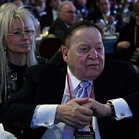 Sheldon Adelson with his wife Miriam at the Republican Jewish Coalition's annual leadership meeting at The Venetian Las Vegas, February 24, 2017. (Ethan Miller/Getty Images/via JTA)