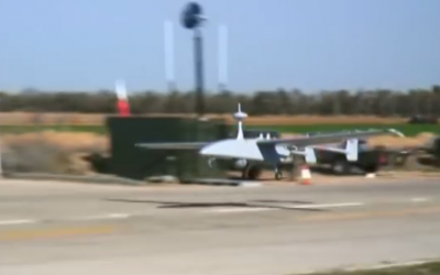 Screen capture from video of an Aerostar Tactical UAS. (YouTube)