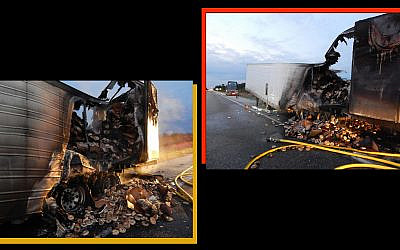 Tons of frozen bagel went up in flames when a semi's rear axle caught fire, October 6, 2019. (Courtesy of the Indiana State Police via JTA)