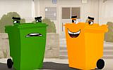 Scene from a promotional video issued by the Tamir Recycling Corporation showing a green bin for general household waste being joined by an orange bin for recyclable containers. (Screenshot)