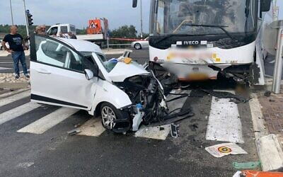 The scene of a collision between a bus and car at I'billin Junction, October 26, 2019 (Magen David Adom)