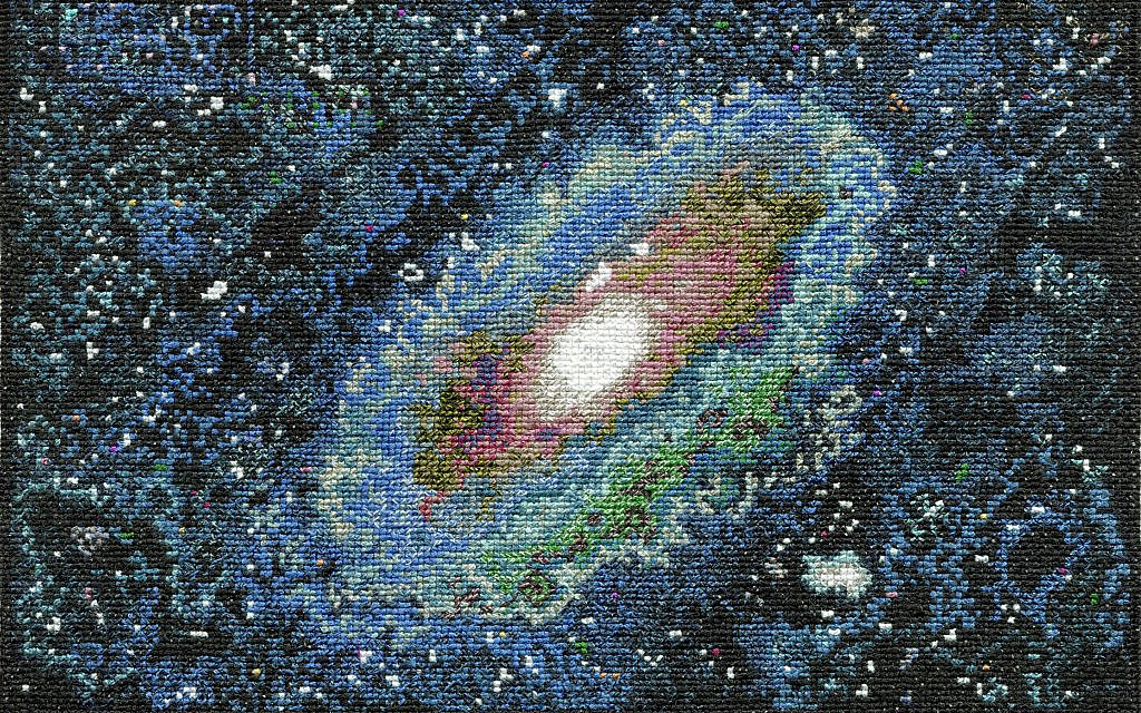 Detail of Torah Stitch by Stitch tapestry, Galaxy by Sandi Leibovici (Courtesy of Torah Stitch by Stitch project)