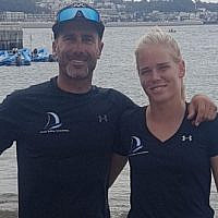 Israeli windsurfer Katy Spychakov (R) and her coach Pierre Loquet. (Israel Sailing Association)