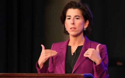 Gov. Gina Raimondo speaks during a debate at URI's Edwards Hall Auditorium on October 15, 2018. (Matthew J. Lee/Getty Images via JTA)