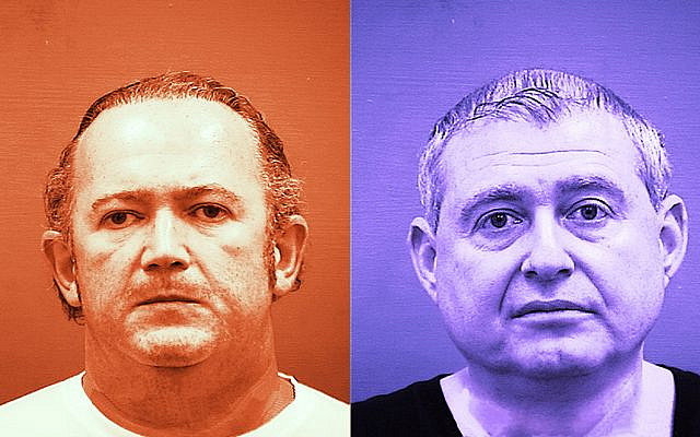 Igor Fruman, left, and Lev Parnas are Ukrainian-American businessmen who have been arrested with campaign finance violations related to the burgeoning Trump-Ukraine scandal. (Getty Images/JTA Montage)