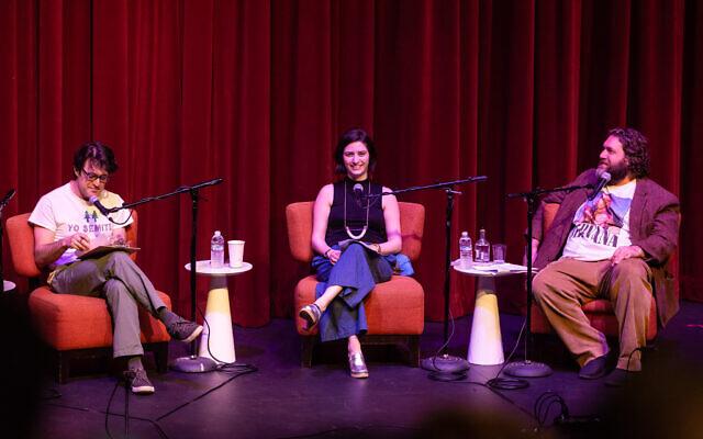 Co-authors of 'The Newish Jewish Encyclopedia,' from left: Mark Oppenheimer, Stephanie Butnick, and Liel Leibovitz. (Photo credit Matthew Lipsen)