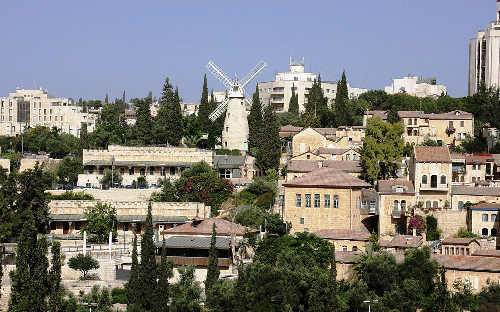 The Jerusalem neighborhoods of Mishkenot Sha'ananim and Yemin Moshe. (Shmuel Bar-Am)
