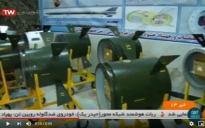 Image of the new Iranian Labeik guidance system upgrade system. (YouTube screen-grab)