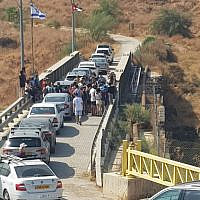 Israelis visit Naharayim, October 19, 2019 (Courtesy of Naharayim)