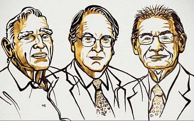 (From left) John B Goodenough, M Stanley Whittingham and Akira Yoshino, winners of the Nobel Prize in chemistry for 2019. (Niklas Elmehed/Royal Swedish Academy of Sciences)