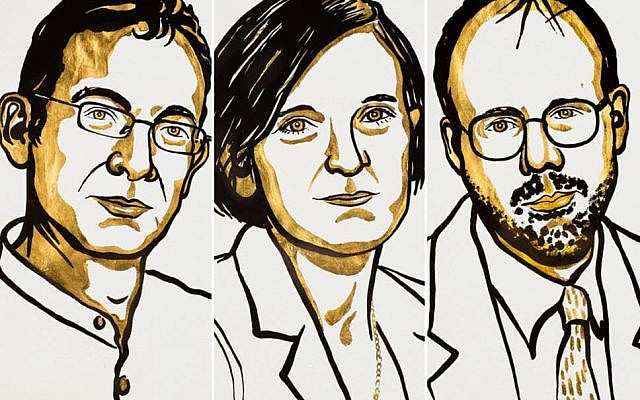 The co-winners of the 2019 Sveriges Riksbank Prize in Economic Sciences in Memory of Alfred Nobel (L-R) Abhijit Banerjee, Esther Duflo and Michael Kremer (Nobel institute)
