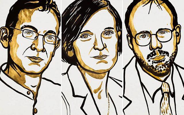 The co-winners of the 2019 Sveriges Riksbank Prize in Economic Sciences in Memory of Alfred Nobel (L-R) Abhijit Banerjee, Esther Duflo and Michael Kremer (Nobel institute)