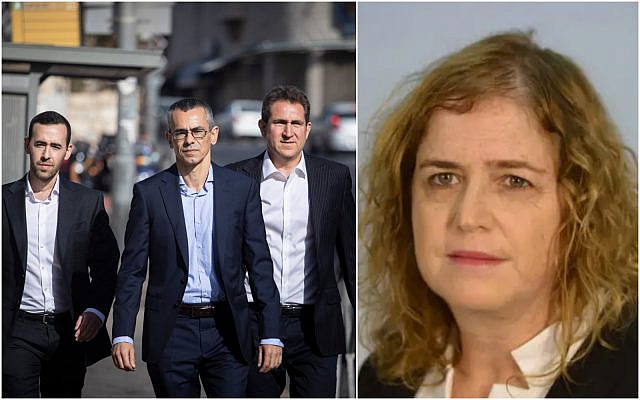 (L) Prime Minister Benjamin Netanyahu's attorneys, led by Yossi Ashkenazi (c) arrive at the Justice Ministry in Jerusalem for a  pre-indictment hearing regarding the corruption cases in which Netanyahu is a suspect, on October 6, 2019. (Hadas Parush/Flash90) (R) Tel Aviv District prosecutor Liat Ben Ari. (Justice Ministry)