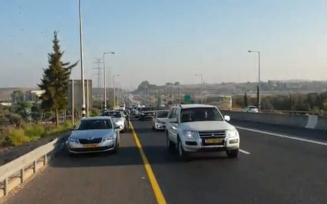 Screen capture from video of vehicles participating in a protest convoy by the Arab Israeli community calling for government action against violence within the community, October 10, 2019. (Twitter)