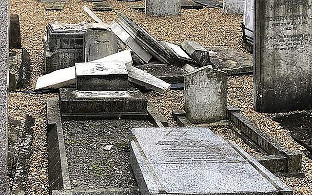The aftermath of vandalism at the Jewish cemetery in Rochester, UK, in late September 2019. (Dalia Halpern-Matthews via JTA)