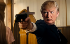 A fake Donald Trump is seen killing his opponents in a video shared at a recent conference for supporters (YouTube screenshot)