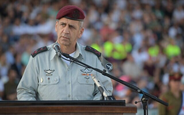 IDF chief Aviv Kohavi speaks at a graduation ceremony for new IDF officers on October 31, 2019. (Israel Defense Forces)