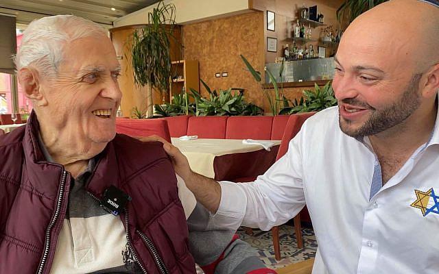 Xhemal Veseli, left, with Jonny Daniels in Tirana, Albania in October 2019. (Courtesy of From the Depths via JTA)