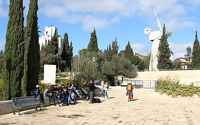 The windmill plaza in the Mishkenot Sha'ananim neighborhood of Jerusalem, which was first established in 1860. (Shmuel Bar-Am)
