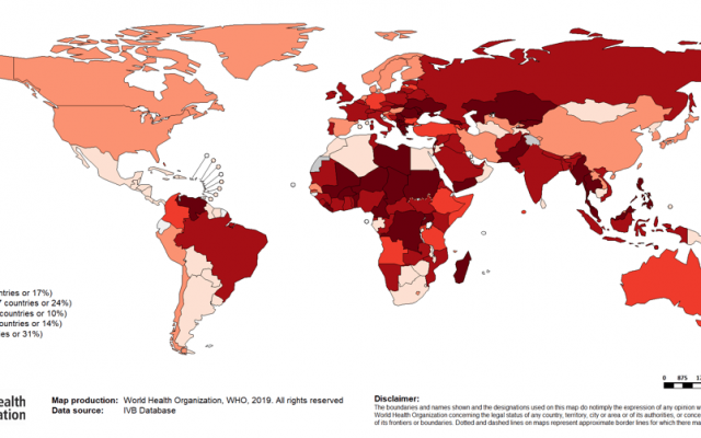 A map of the global measles outbreak (World Health Organization via Zman Yisrael)