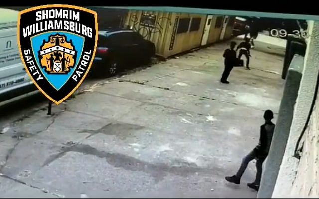 Vandals break the windows of the Rivnitz synagogue in Brooklyn during Rosh Hashanah services on September 30, 2019. Screen capture: Williamsburg News)
