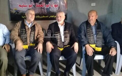 Hamas leader Ismail Haniyeh (second from right), Islamic Jihad leader Khaled al-Basch (second from left), and the father of Islamic Jihad terrorist Baha Abu al-Ata (right), pictured on November 16, 2019. (Screen grab)