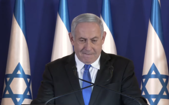 Prime Minister Benjamin Netanyahu responds to the decision to indict him in corruption cases, November 21, 2019 (TV screenshot)