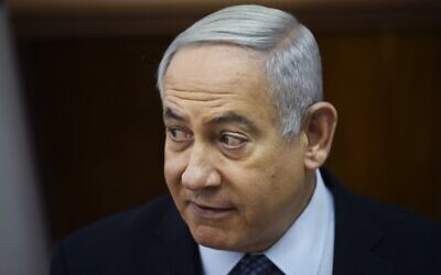 Prime Minister Benjamin Netanyahu chairs the weekly cabinet meeting at his office in Jerusalem on November 3, 2019. (Oded Balilty/ Pool/AFP)