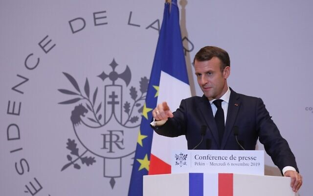 French President Emmanuel Macron holds a press conference at the French embassy at the end of his three-day official visit in China, in Beijing on November 6, 2019. (Ludovic MARIN/AFP)