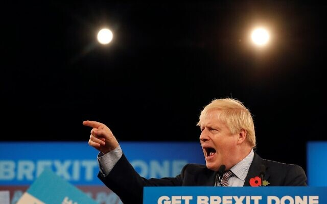 Britain's Prime Minister Boris Johnson speaks at the Conservative Party's General Election campaign launch, at the National Exhibition Centre (NEC) in Birmingham, central England, on November 6, 2019.  (Adrian DENNIS / AFP)